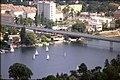 178R35270888 Donauturm, Blick vom Donauturm, Blick Richtung Alte Donau, Trasse der U Bahn Linie U1, dahinter rechts Kreuzung.jpg