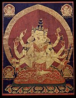 A 17th century Tibetan thangka of Guhyasamaja Akshobhyavajra, part of the economic exchange between Ming dynasty China and Tibet