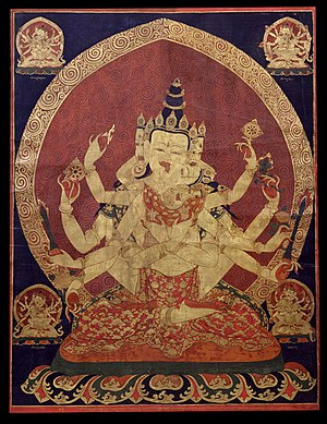 Aureola - 17th century Central Tibetan thanka of Guhyasamaja Akshobhyavajra, Rubin Museum of Art
