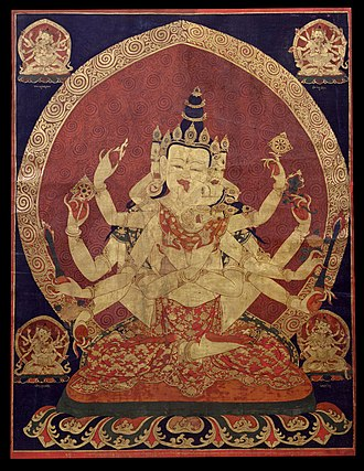 Iconography - A 17th century Central Tibetan thanka of Guhyasamaja Akshobhyavajra.