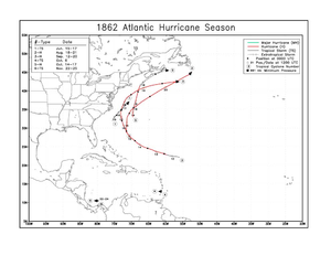 1862 Atlantic hurricane season - Image: 1862 Atlantic hurricane season map