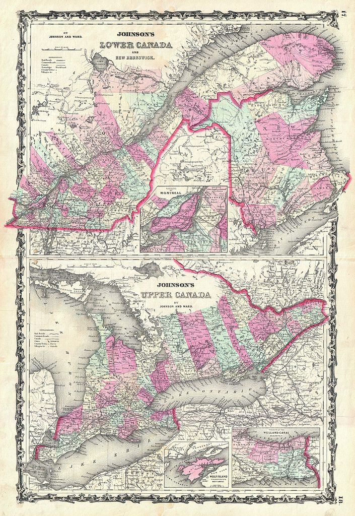 File 1862 Johnson Map Of Ontario And Quebec Canada