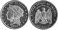 A silver dollar pattern depicting a left-facing woman on the obverse and an eagle on the reverse