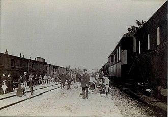 Ljubljana railway station - Image: 1895 Ljubljana earthquake by Helfer Železniška postaja