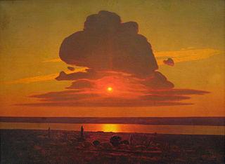 Coucher de soleil rouge sur le Dniepr