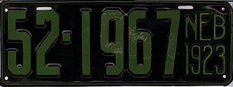 Vehicle registration plates of Nebraska - Image: 1923 Nebraska license plate 52 1967
