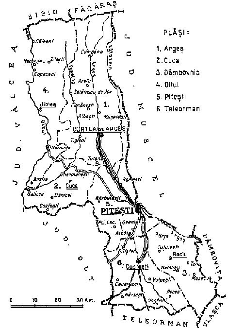 1938 map of interwar county Arges