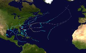 1959 Atlantic hurricane season - Image: 1959 Atlantic hurricane season summary map