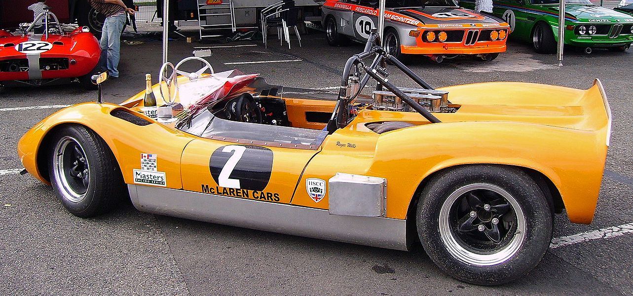 1965 McLaren M1B of Roger Wills at Masters Historic Racing, Circuit de Nevers Magny-Cours, Nièvre, Bourgogne, France.