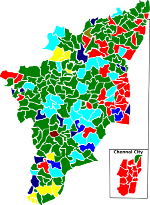 Tamil Nadu Legislative Assembly election, 1977 - Election map of results based on parties. Colours are based on the results table on the left