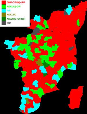 Tamil Nadu Legislative Assembly election, 1989 - Image: 1989 tamil nadu legislative election map