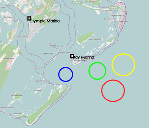 Djibouti at the 1996 Summer Olympics - A map of Wassaw Sound, the sailing venue where Ali Adou and Youssef competed
