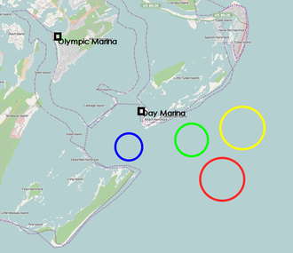 Sailing at the 1996 Summer Olympics – Men's 470 - Image: 1996 Olympic Sailing Venues (Open Street Map)