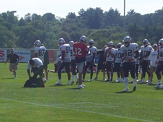 2005 New England Patriots season - The Patriots' offense practices during the first training camp practice