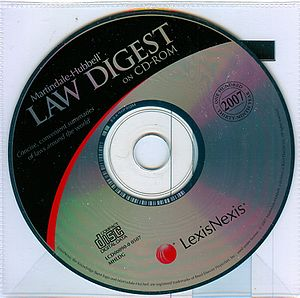 Martindale-Hubbell - 2007 Edition of Martindale-Hubbell Law Digest on CD-ROM. This was Martindale Hubbell's  One Hundred Thirty Ninth Year. The complete Martindale-Hubbell Law Digest was compiled and updated each year by prominent law firms and legal scholars in each jurisdiction.  It included up-to-date digests of the laws of the 50 states of the USA, the District of Columbia, Puerto Rico and the US Virgin Islands, useful information on the United States Federal, Copyright and Trademark laws, the United States Uniform and Model Acts as well as American Bar Association's Codes.  The International Digest included summaries of the laws of 82 countries, a separate digest setting forth European Union Law, in deference to the laws of many European countries and selected international conventions.