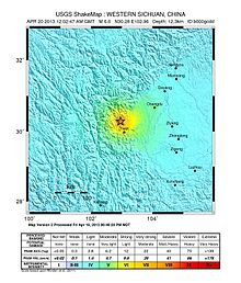 2013 April 20, Ya'an China Earthquake ShakeMap.jpg