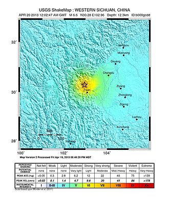 2013 Lushan earthquake - USGS ShakeMap of the Ya'an earthquake mainshock intensity