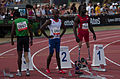 2013 IPC Athletics World Championships - 26072013 - Jayalath Yodha of Sri Lanka, Clavel Kayitare of France and Regas Woods of USA preparing for the Men's 100m - T42.jpg