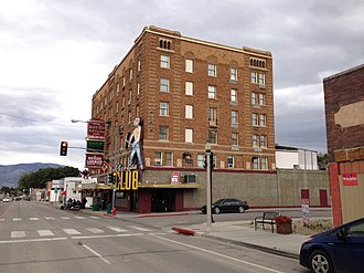 Hotel Nevada and Gambling Hall - Hotel Nevada, seen from Aultman Street in 2014.