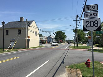 Virginia State Route 208 - View west along SR 208 Business in Spotsylvania Courthouse