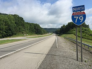 Interstate 79 - View north along I-79 in Flatwoods, West Virginia