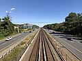 2018-10-23 13 10 57 View east along Interstate 66 and the Orange Line of the Washington Metro from the overpass for Virginia Lane (Virginia State Route 719) in Idylwood, Fairfax County, Virginia.jpg