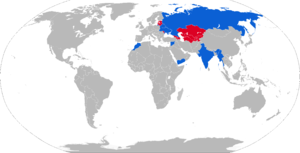 2K22 Tunguska - Map of 2K22 operators in blue with former operators in red