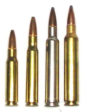 .300 Remington Ultra Magnum - left-to-right: .308 Winchester, .30-06 Springfield, .300 Weatherby Magnum, .300 Remington Ultra Magnum