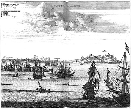 1630: Dutch siege of Olinda, located in the Brazilian captaincy of Pernambuco, the largest and richest sugar-producing area in the world. 33475.jpg