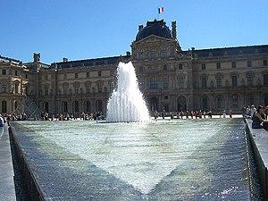 Fountains in Paris - Fontaine de la Pyramide, Cour Napoleon I of the Louvre, (1988)