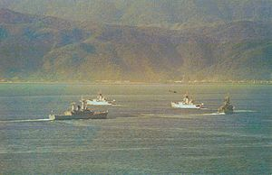 History of the Royal New Zealand Navy - Four RNZN frigates in Wellington Harbour during 1980