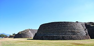Tzintzuntzan (Mesoamerican site) - View of the yácata pyramids from the south end