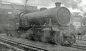 Gorton Locomotive Works - Thompson LNER Class O1 2-8-0 loco 63760 at Gorton on 8 November 1958 after overhaul in the works. This loco is fitted with air pumps in front of the cab for working heavy iron ore trains from Tyne Dock to Consett steel works