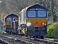 66413 and 66 number 131 Hither Green P.A.D. to Hoo Junction up yard (12986157694).jpg
