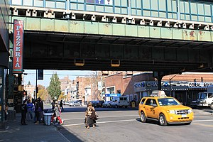 Jackson Heights–Roosevelt Avenue/74th Street (New York City Subway) - The eastern end of the IRT Flushing Line station, at 75th Street and Roosevelt Avenue