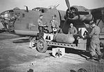 93d Bomb Group loading B-24 Liberator 41-23737 The picture shows American-made 1,000-pounders at their Station in England. These bombs had previously not been photographed.jpg