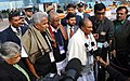 A. K. Antony with the Chief Minister of Kerala, Shri Oommen Chandy and the Chief Minister of Delhi Smt. Sheila Dikshit addressing the media after laying wreath on the Corpse of the deceased NCC cadets.jpg