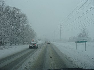 Maryland Route 3 - MD 3 southbound in Crofton during a snowstorm