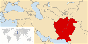Location of Afghanistan and Pakistan