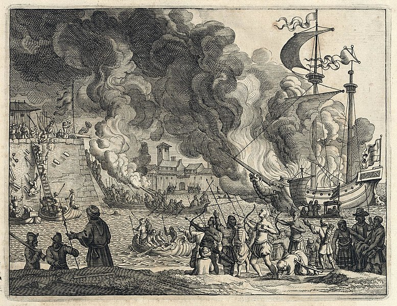 File:AMH-6957-KB Conquest of Diu by the Portuguese in 1535.jpg