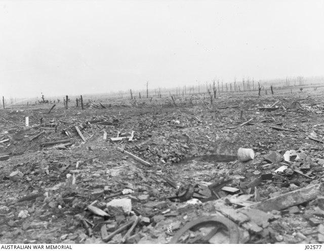 AWM J02577 A landscape of Merris after World War I