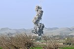A GBU-38 bomb detonates on an insurgent compound after being dropped from a U.S. Air Force B-1B Lancer aircraft April 4, 2013, in Bala Murghab Valley, Badghis province, Afghanistan 130404-F-WU507-011.jpg