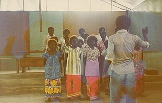 North Solomon Islands - A United Church village choir in Siwai, Bougainville, 1978