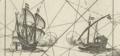 A galley engaging a galleon Kaart van enige eilanden van de Molukken Moluccae insulae celeberrimae.png