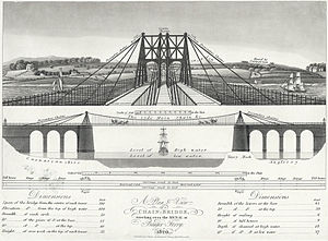 Bangor, Gwynedd - An early design for the Menai Suspension Bridge constructed in 1826 connecting Bangor with Anglesey