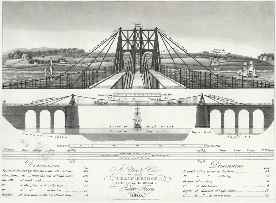 A plan & view of a chain bridge - erecting over the menai at Bangor Ferry 1820.jpeg