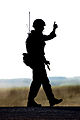 A soldier gives the thumbs up sign during an exercise. MOD 45147845.jpg
