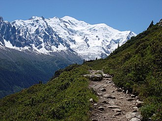 Hiking - View of Mont Blanc from the Tour du Mont Blanc (as see from the Aiguilles Rouges).