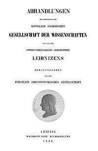 Abhandlungen bei Begründung der Königlich Sächsischen Gesellschaft der Wissenschaften 1846 Titel.jpg