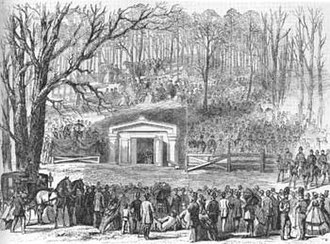 Lincoln Tomb - 1865 newspaper illustration of Lincoln burial